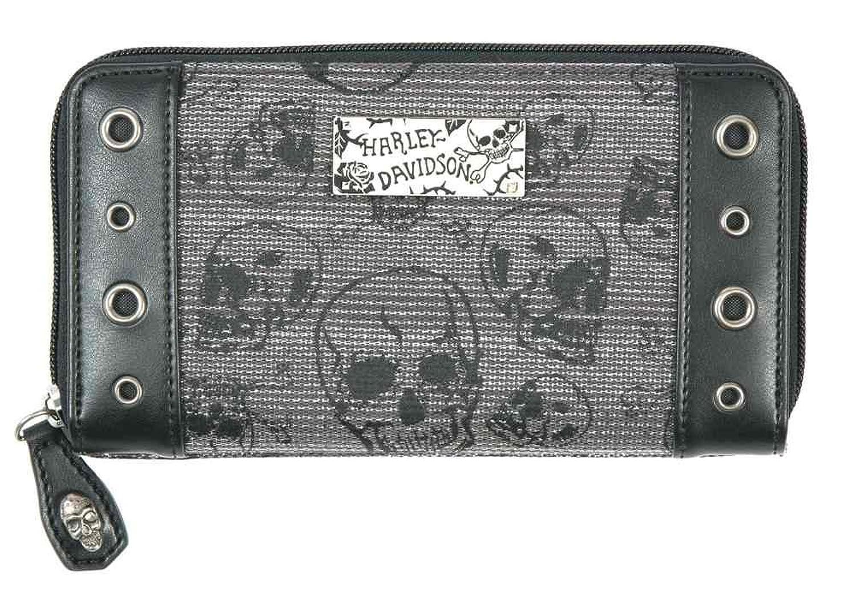 5540bacc947d Harley-Davidson Womens Chrome Skull Jacquard 7in Zip Clutch Wallet ...