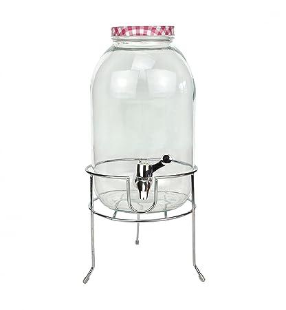 Dispensador de bebidas 5L de cristal con tapa y grifo (Vino Rojo con Soporte de