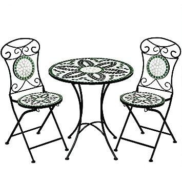 Salon de jardin FLORALIS mosaique - 1 table et 2 chaises ...