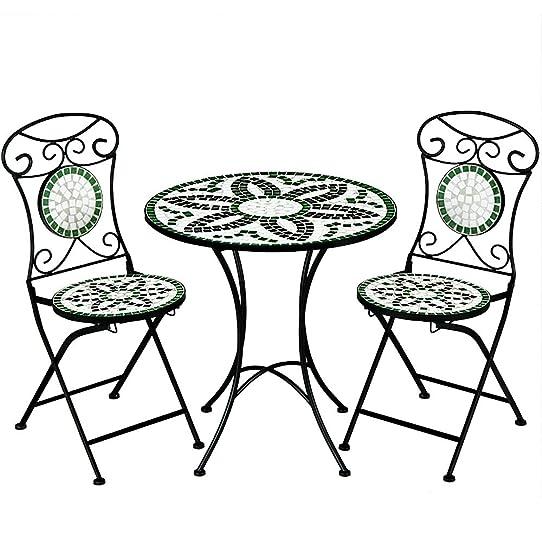 Salon de jardin FLORALIS mosaique - 1 table et 2 chaises pliables ...