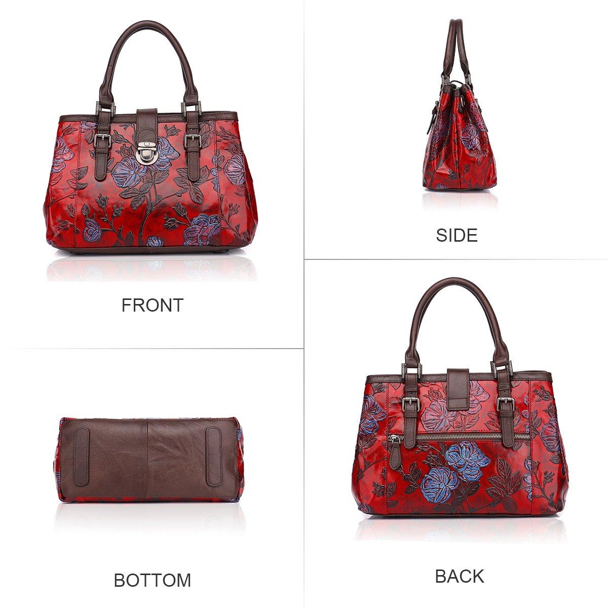 2e67d30fb286 APHISON Designer Unique Embossed Floral Cowhide Leather Tote Style Ladies  Top Handle Bags Handbags C817