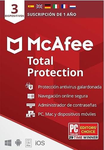 McAfee Total Protection 2021, 3 Dispositivos, 1 Año, Software Antivirus, Seguridad de Internet, Móvil,Manager de Contraseñas, Compatible con PC/Mac/Android/iOS, Edición Europea, Código por Correo