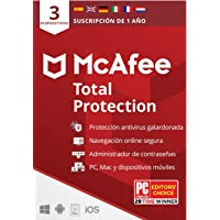 McAfee Total Protection 2020, 3 Dispositivos, 1 Año, Software Antivirus, Seguridad de Internet, Móvil,Manager de…
