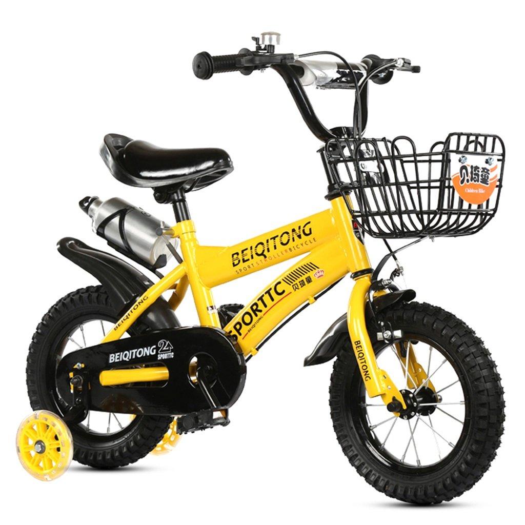 KANGR-子ども用自転車 子供用自転車適合2-3-6-8男の子と女の子子供用玩具屋外用マウンテンバイクハンドルバーとサドルはフラッシュトレーニングホイールで調節可能な高さにできますウォーターボトルとホルダー-12 / 14/16/18インチ ( 色 : イエロー いえろ゜ , サイズ さいず : 16 inches ) B07BTY7MQW 16 inches|イエロー いえろ゜ イエロー いえろ゜ 16 inches