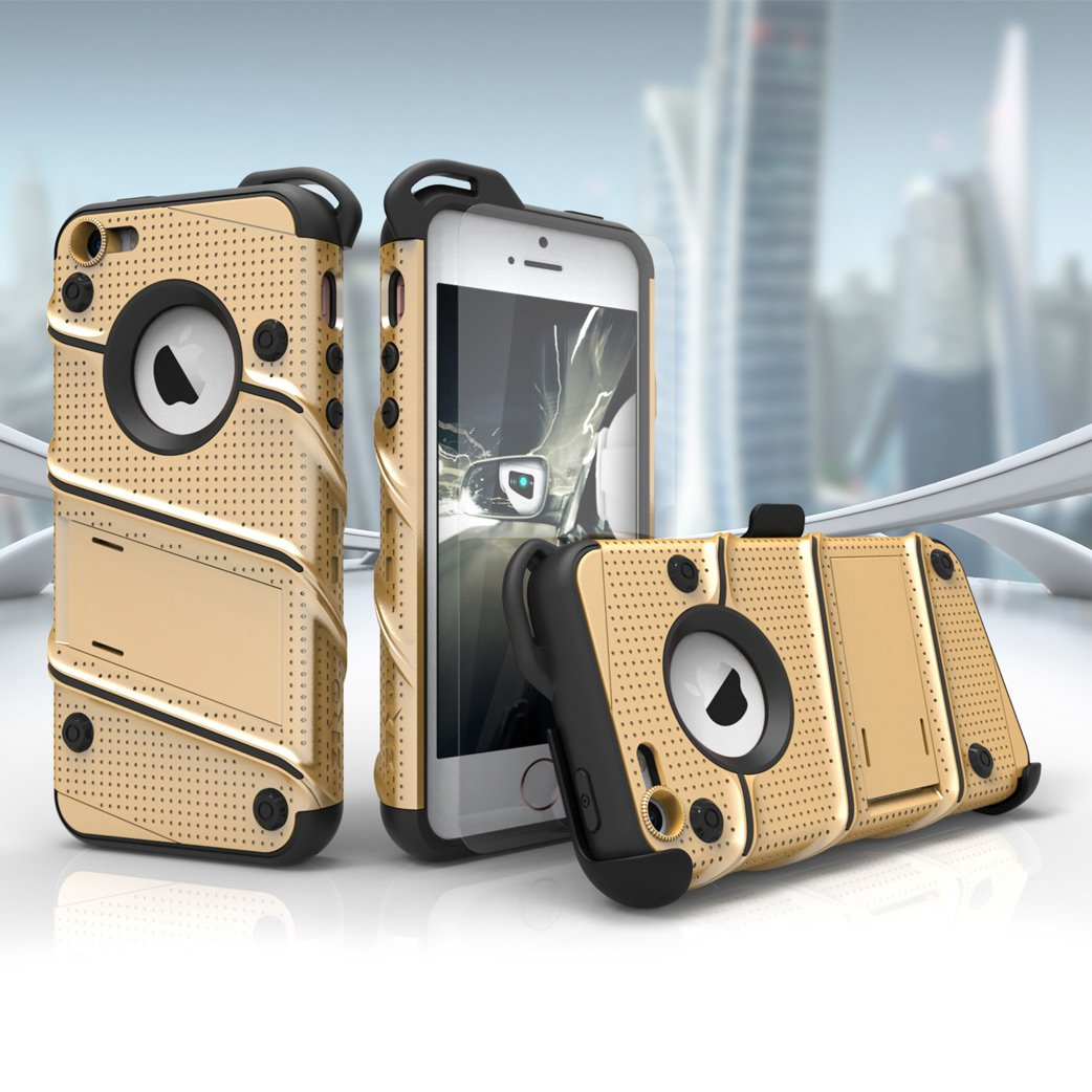 best service 5a583 85a8f iPhone SE Case, Zizo [Bolt Series] w/ FREE [iPhone SE Screen Protector]  Kickstand [Military Grade Drop Tested] Holster Belt Clip - iPhone 5s / SE /  5c