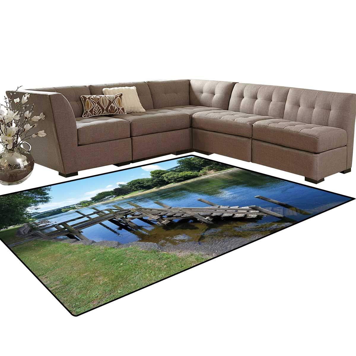 Outdoor bath mat 3d digital printing mat waikato river hamilton city new zealand holiday destination travel landmark extra large area rug 66 x10 green