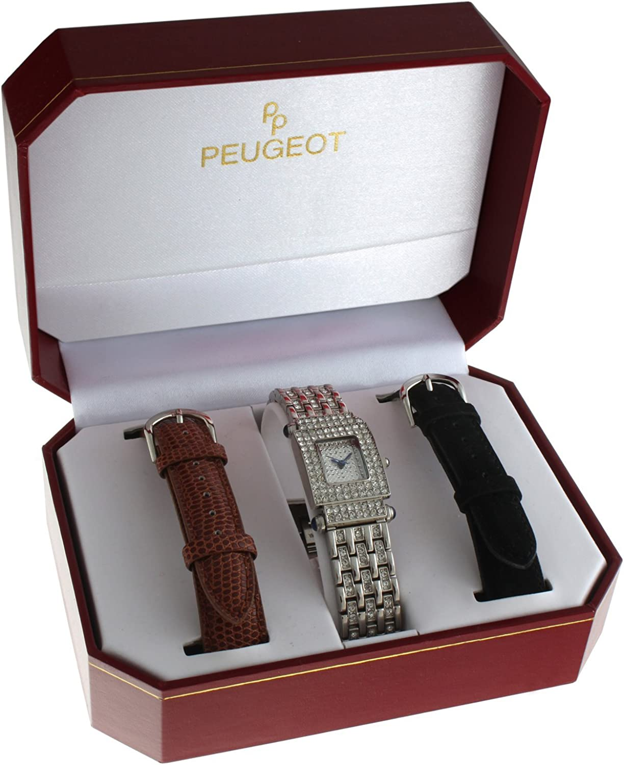 Peugeot Interchangeable Strap Crystal Pave Dial Gift Set Watch Silver