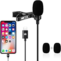 Professional Lavalier Lapel Microphone,KINGONE Omnidirectional Condenser Mic for iPhone 7/7 plus/8/8 plus/11/11 Pro/11…