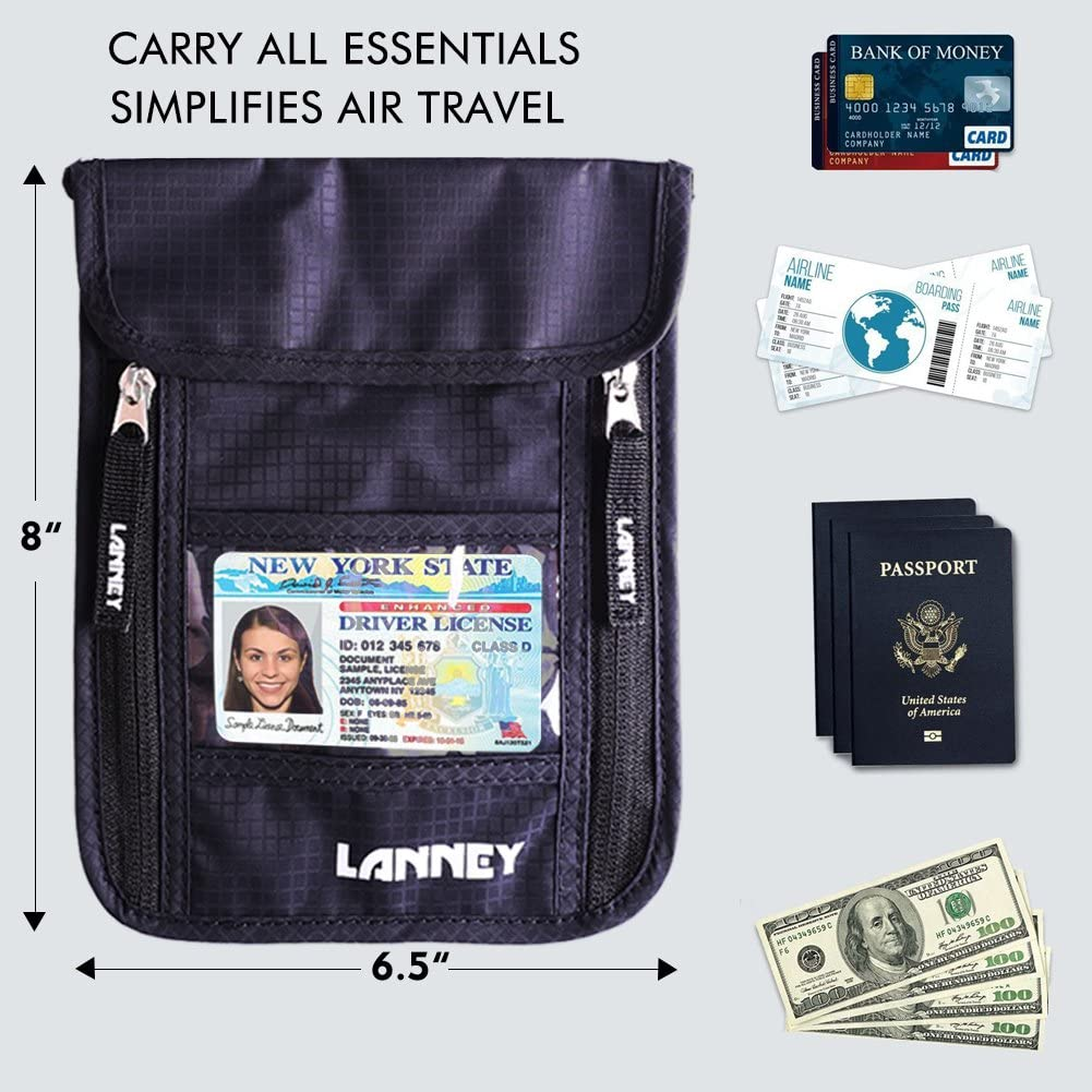 Neck Wallet Travel Pouch RFID Blocking Traveling Passport Holder for Women Men