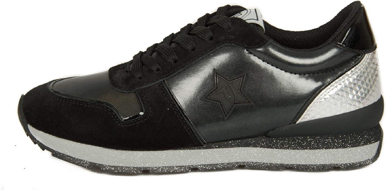 Trussardi Jeans Chaussures De Sport Sneaker Femme Article 79a00435 Runner Synthetic Star K299 Nero - Black