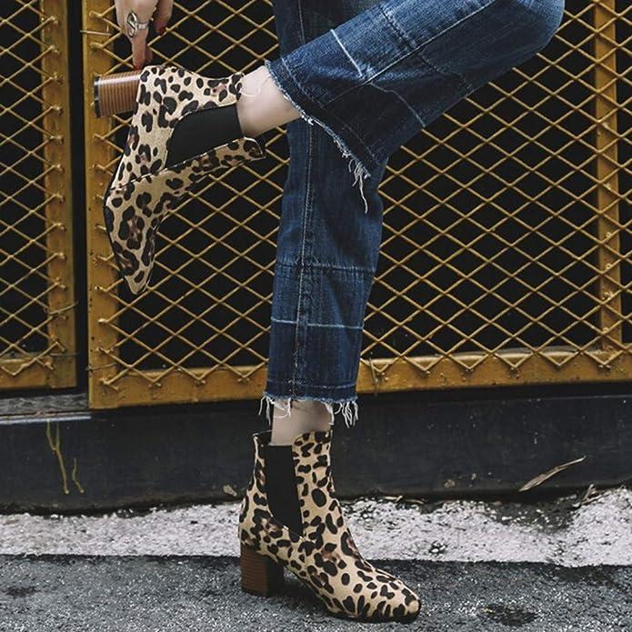 OHQ 2018 Botines De TacóN Alto Zapatos con Estampado De Leopardo Fashion para Mujer Botas Cortas De Felpa: Amazon.es: Zapatos y complementos