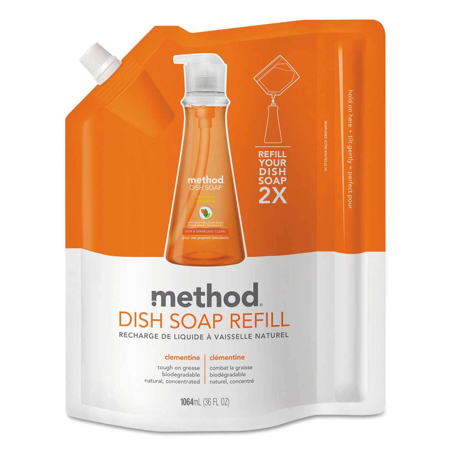 METHOD Products INC. Dish Soap Refill, Clementine Scent, 36 Oz Pouch, 6/Carton