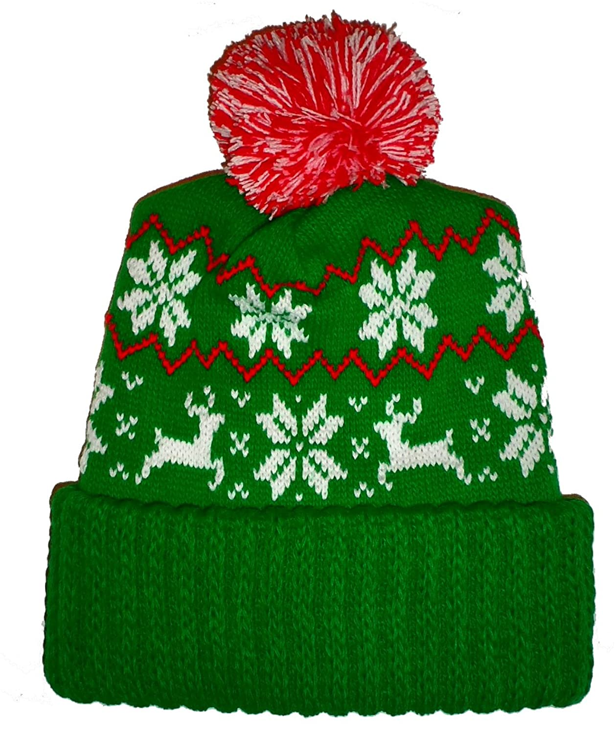Amazon.com: Green Ugly Sweater Reindeer Snowflake Knit Beanie Hat ...