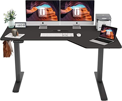 FEZIBO L-Shaped Electric Standing Desk, 55 Inch Height Adjustable Stand Up Table, Sit Stand Desk with Splice Board, Black Frame/Black Top