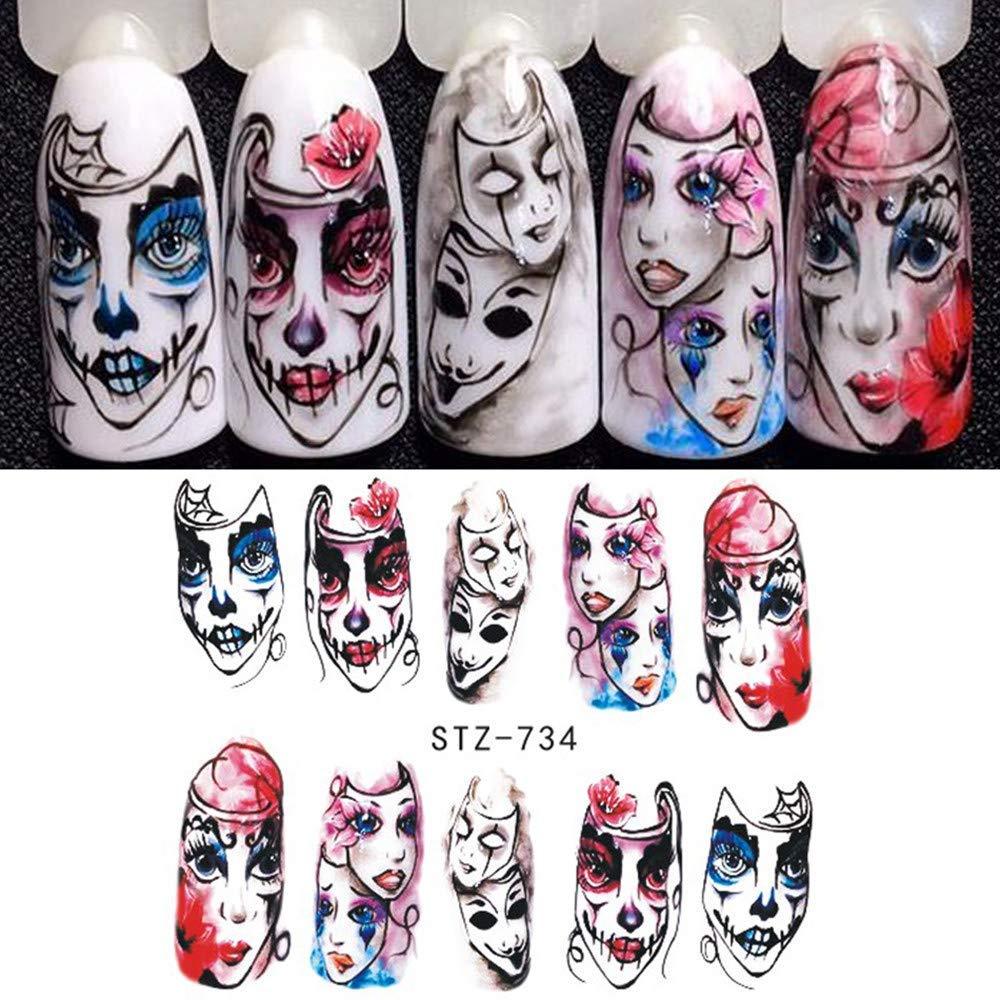ZHRUI Etiqueta engomada de uñas de Halloween decoración de uñas diseño de Horror (Color : E): Amazon.es: Hogar