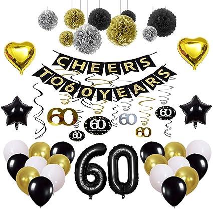 Amazon.com: Kit de decoración de fiesta de 60 cumpleaños ...