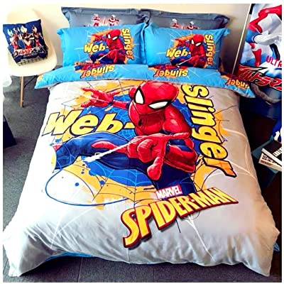 Peachy Baby Featuring Spider-Man Spiderman Bedding Set Single Queen Twin King Full Size 【100% Cotton】【Free Express Shipping】 Blue Cool Marvel Cartoon Superhero 3 and 4 Pieces Bed Sheets (Queen Size): Home & Kitchen