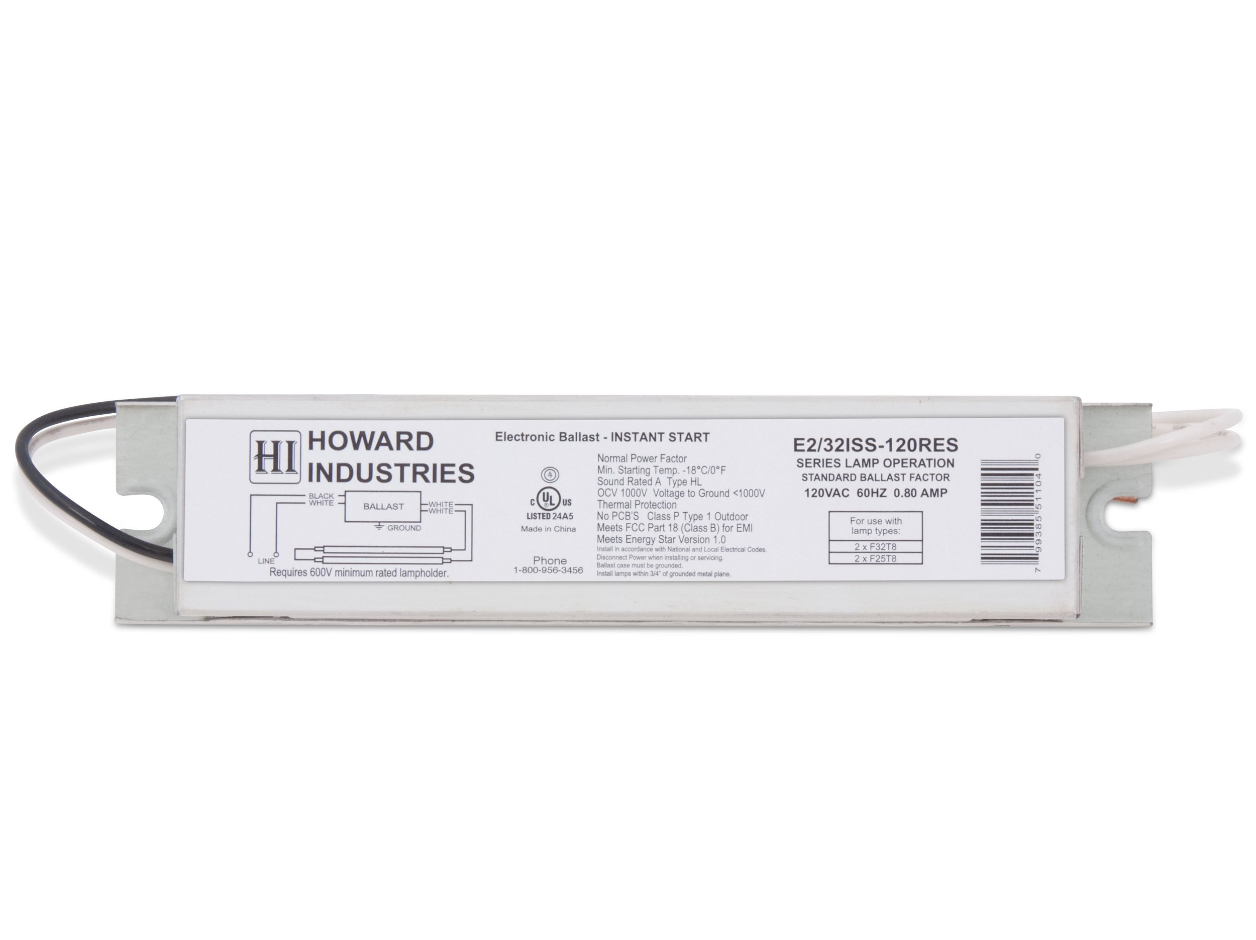 Howard Lighting E2/32ISS-120RES 2 Lamp F32T8 Electronic Fluorescent Ballast