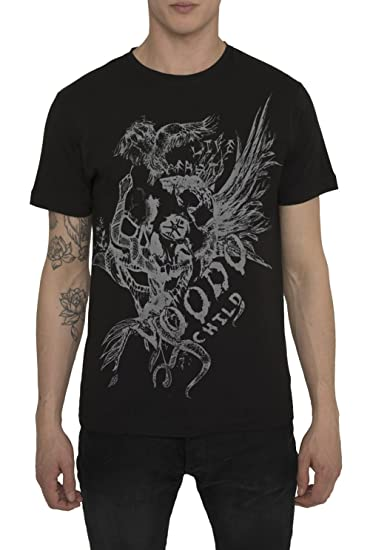 Camisetas Grises, Negras de Algodón para Hombre, T Shirt Designer Fashion Rock con Estampado de Tattoo - EAGLE T-Shirt Cool Urban, Cuello Redondo, ...