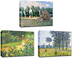3 Pieces Claude Monet Canvas Wall Art Decor Claude Monet Garden Landscape Pictures Artwork Prints Impressionist Reproduction Painting Modern Framed and Stretched Home Decor for Living Room Bedroom