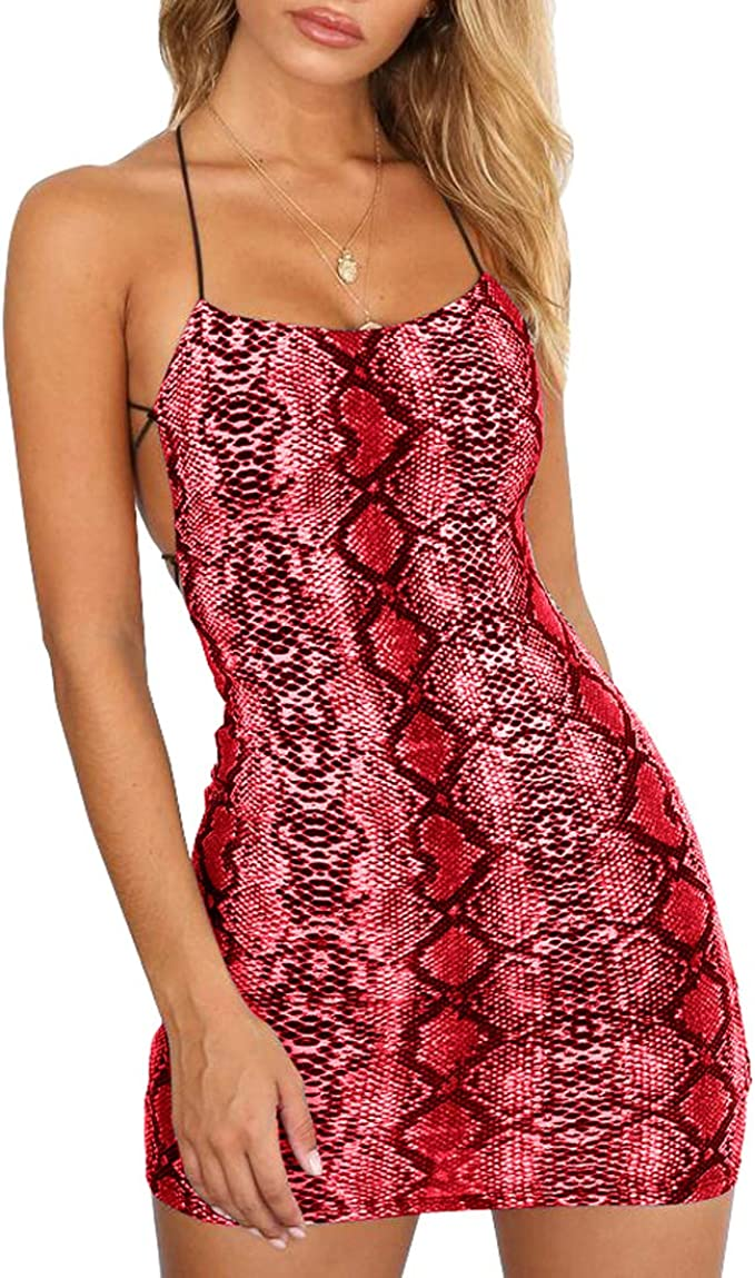 Woman Sleeveless dress Flame Printed Backless Spaghetti Straps Party dress S-XL