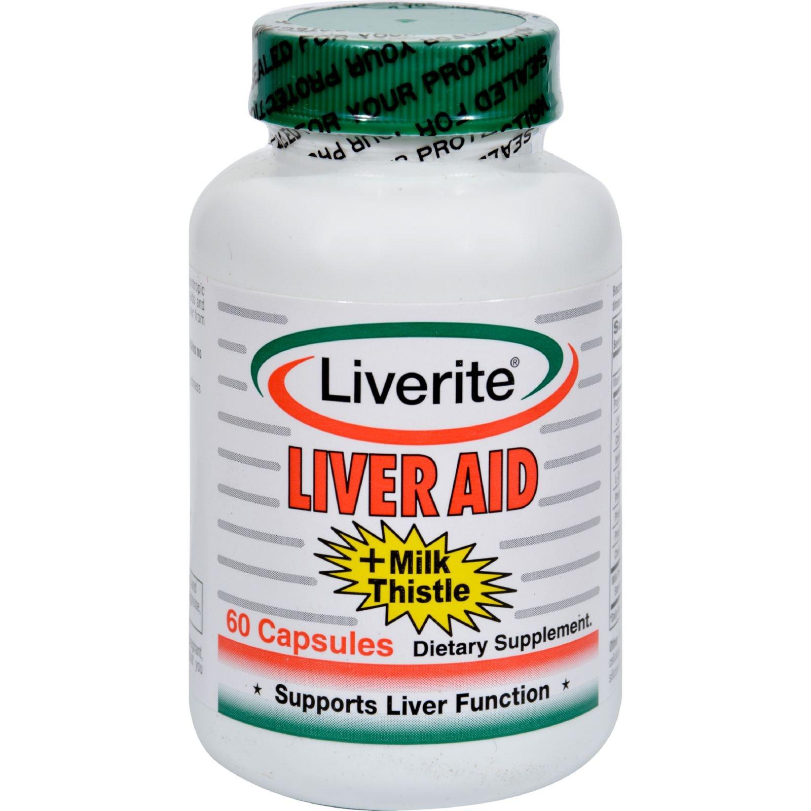 Liverite Liveraid Plus Milk Thistle - Supports Liver Function - 60 Capsules (Pack of 2)