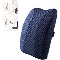 Gluckluz Lumbar Pillow Back Support Ergonomic Memory Foam Backrest with Adjustable Strap for Office Chair Car Seat Pain…