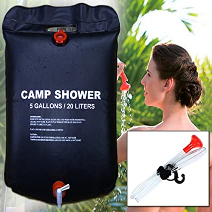 RISEPRO Solar Shower Bag 5 gallons//20L Heating Premium Camping Hot Water with T
