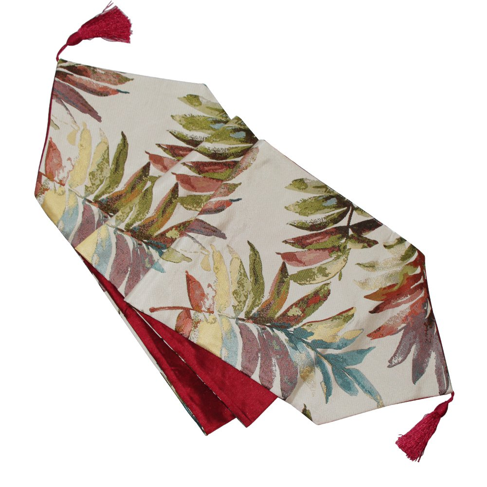 shuke Table Runner, Table Cloth,table Flag Perfect for Christmas, Weddings,Dinner Parties or Everyday Use (Leaves red, 12.6x70.8)