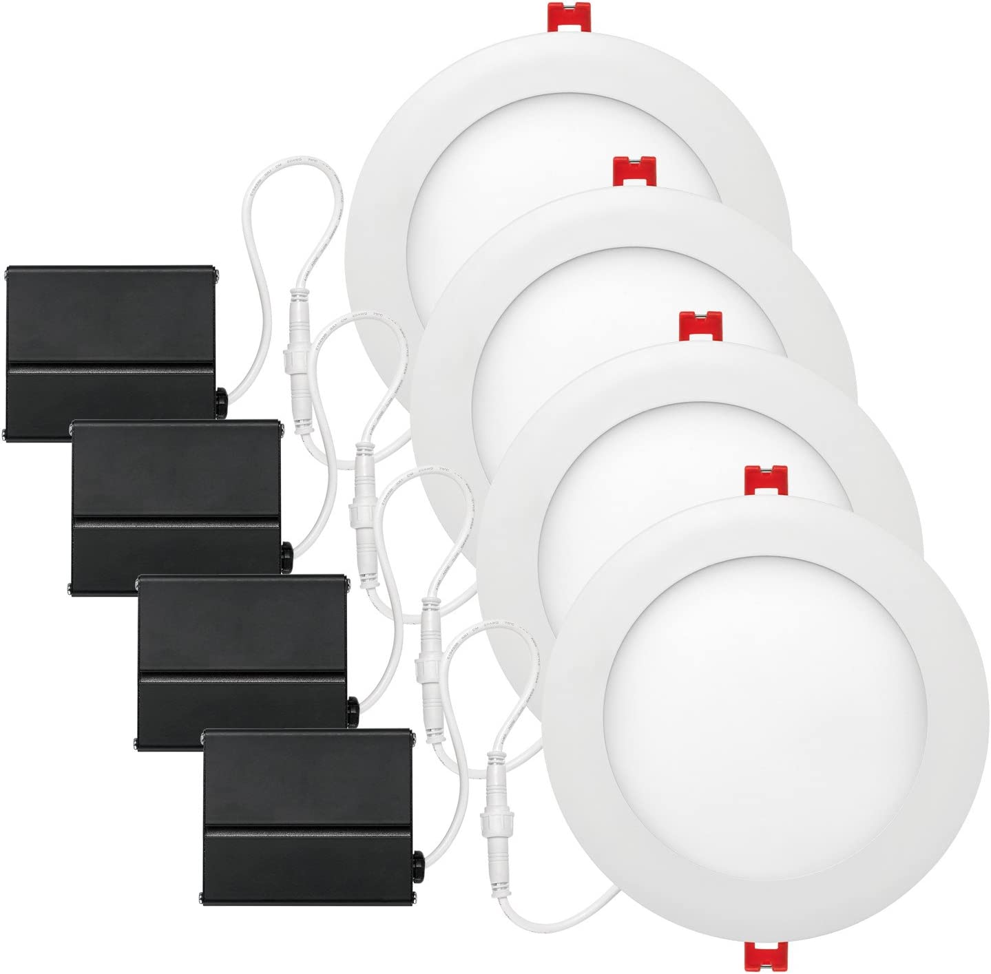 Globe Electric 6 Led Integrated Ultra Slim Recessed Lighting Kit 4 Pack 12 Watts Energy Star Ic Rated Dimmable Wet Rated Fixed Flood White Finish 91126 Housing Trim Kits Amazon Canada