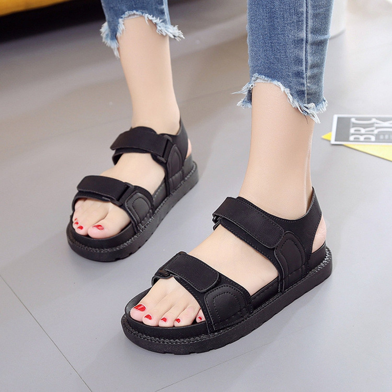 Special-Shop Sandals Female Thick Bottom Wild Magic Soft Bottom Flat with Rome Shoes Student Shoes