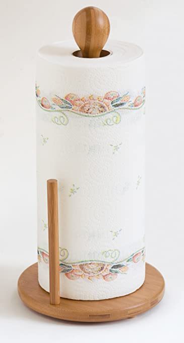 Bamboo Kitchen Paper Towel Tissue Roll Rack Pole Stand Holder Dispenser FI