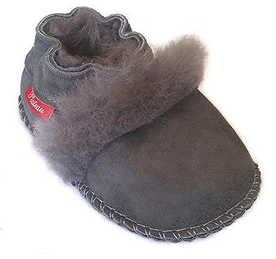 Plateau Tibet - 100% Genuine Lambskin Soft Leather Baby Shoes - Fur - Grey - d754d1476224