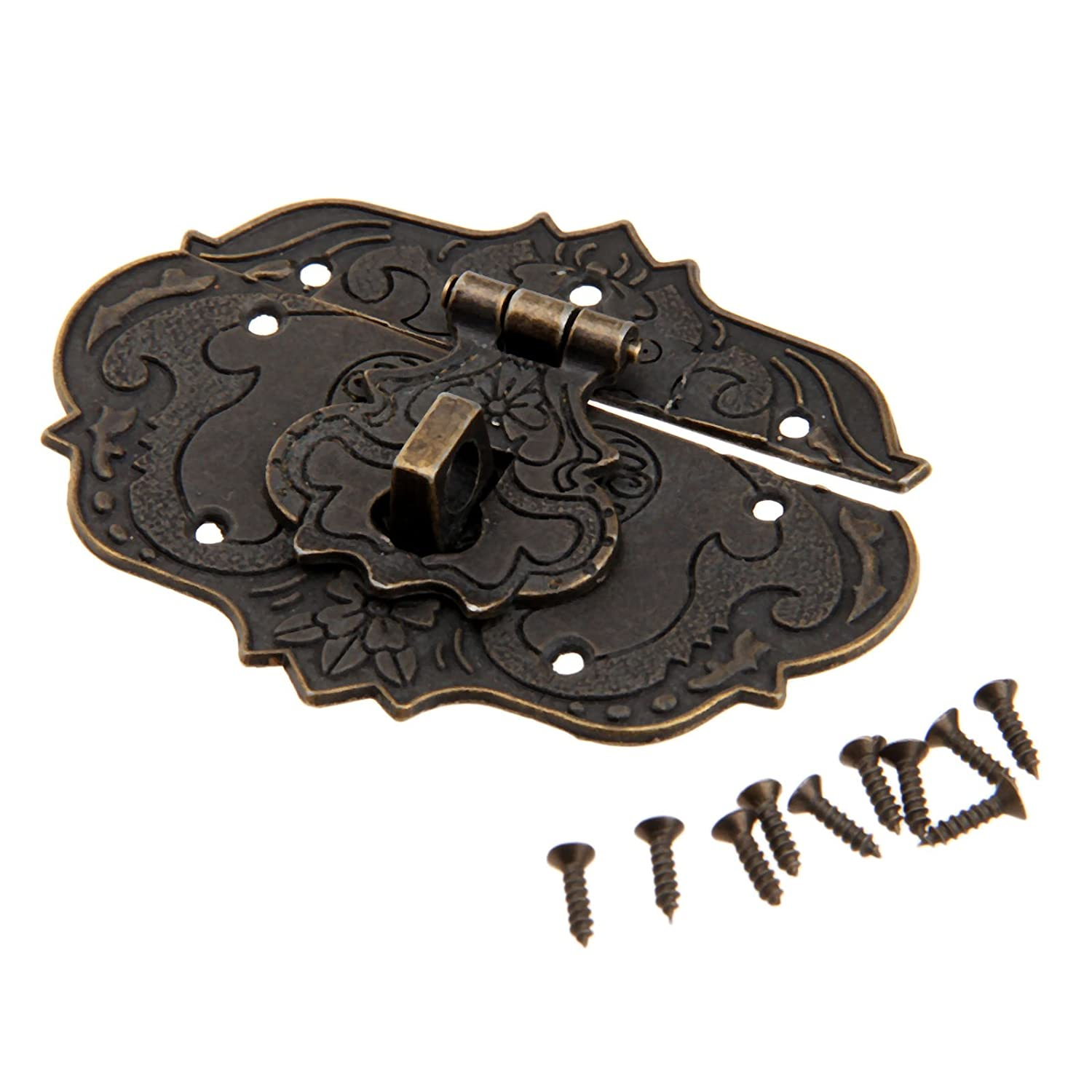 1Pc 3'*2.24' Antique Embossing Decorative Brass Hasp Clasp Latch Lock with Screws for European Style Jewelry Trinket Box Decoration Dophee
