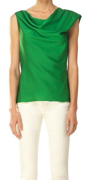 Elástico Seda Georgette Draped Blusa Verde verde esmeralda