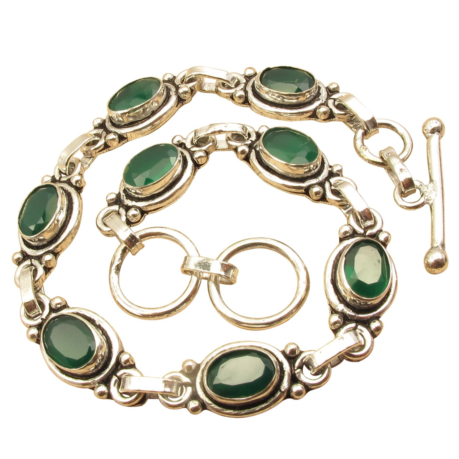 925 Sterling Silver Plated Dazzling Oval GREEN ONYX NOUVEAU Bracelet 20.3 cm Made In India NEW