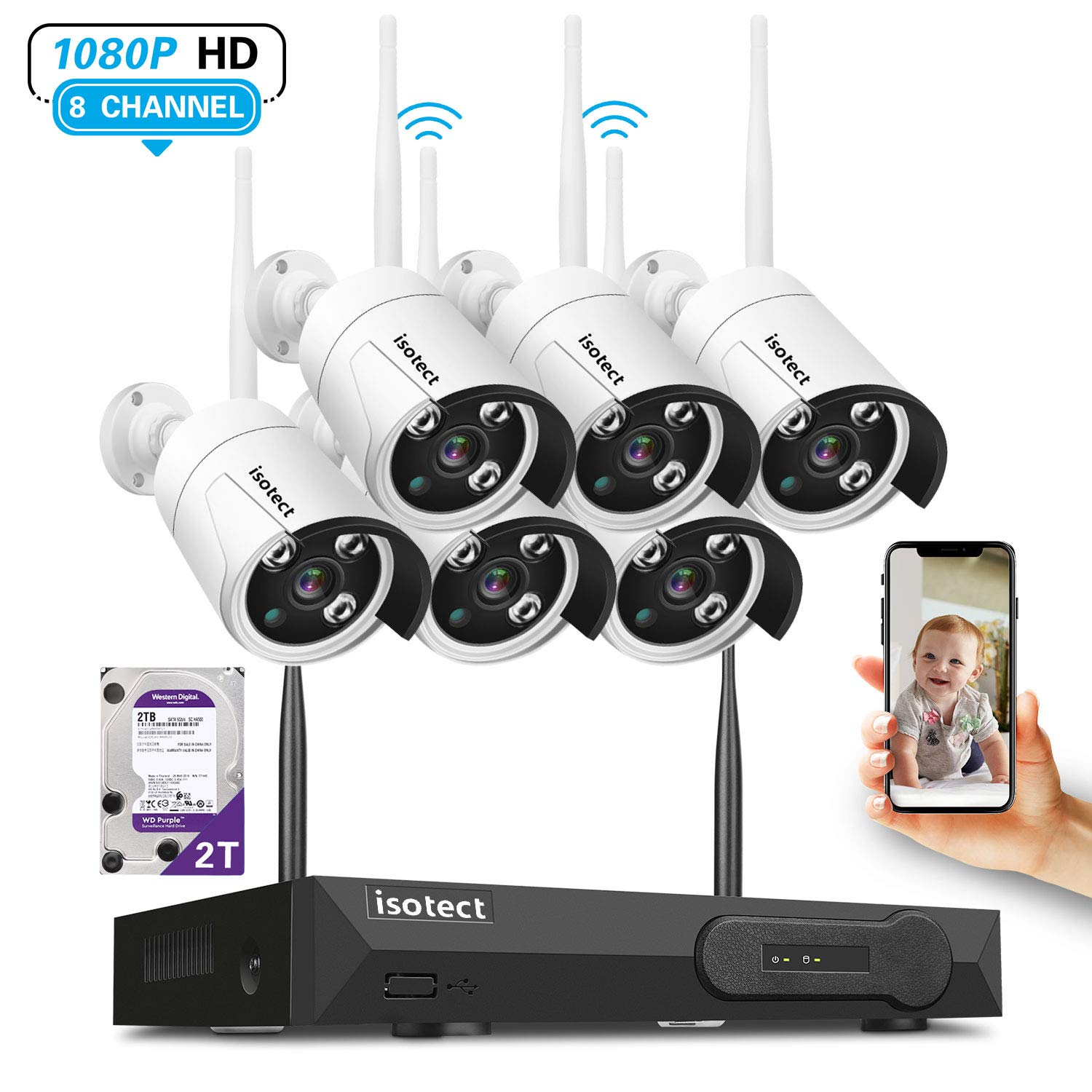 [Newest Strong Version WiFi] Wireless Security Camera System, ISOTECT 8CH Full HD 1080P Video Security System, 6pcs Outdoor/Indoor IP Security Cameras, 65ft Night Vision and Easy Remote View, 2TB HDD by isotect