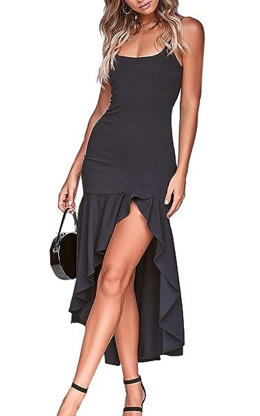 bd1ac3589c1 Angashion Women s Dresses - Elegant Spaghetti Strap Irregular High Low  Ruffle Hem Prom Evening Party Bodycon