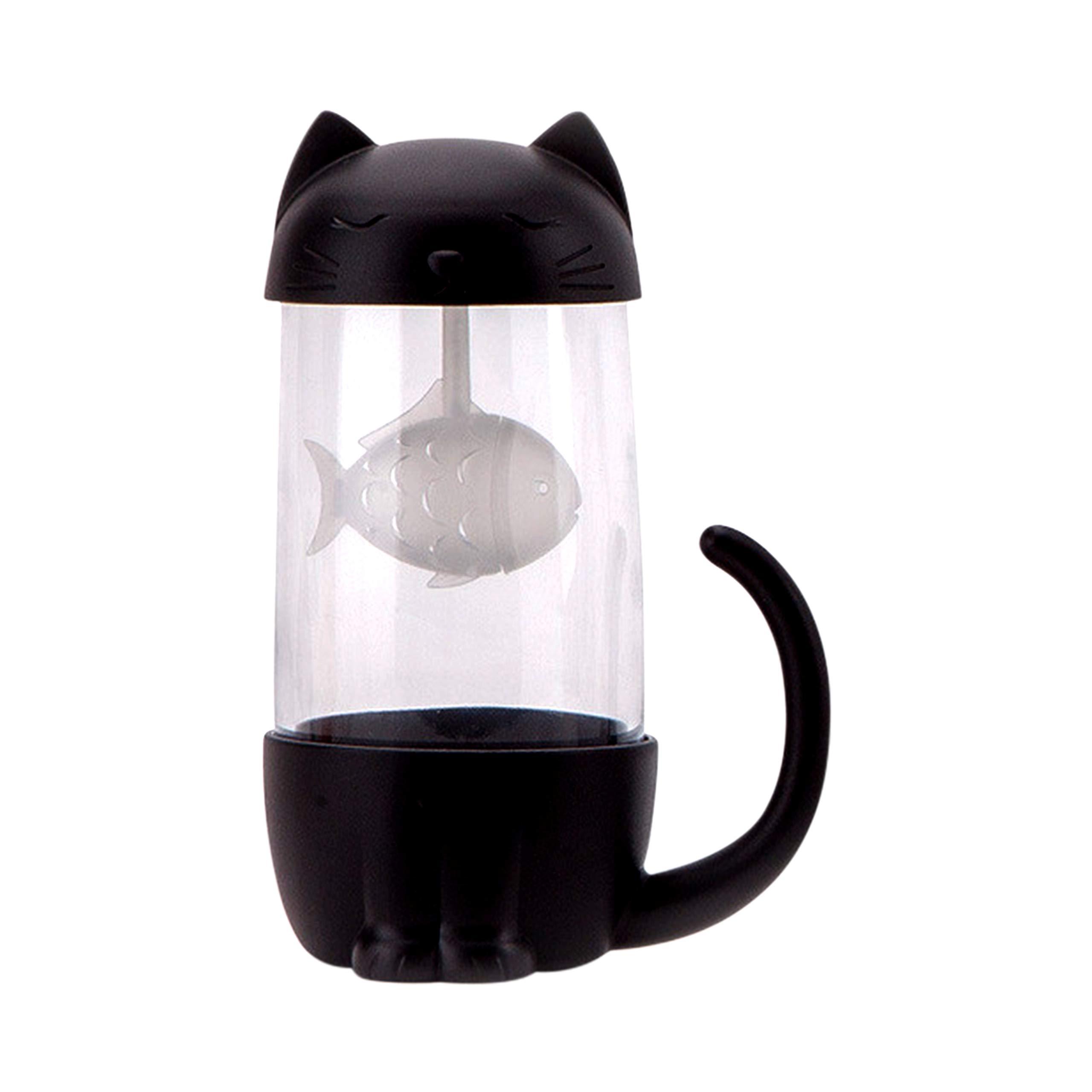 Tea mug with infuser lid - Cute Cat Glass - Tea Cups Infuser - Mug Teacup Cat Dog (cat/black) Cat Gift