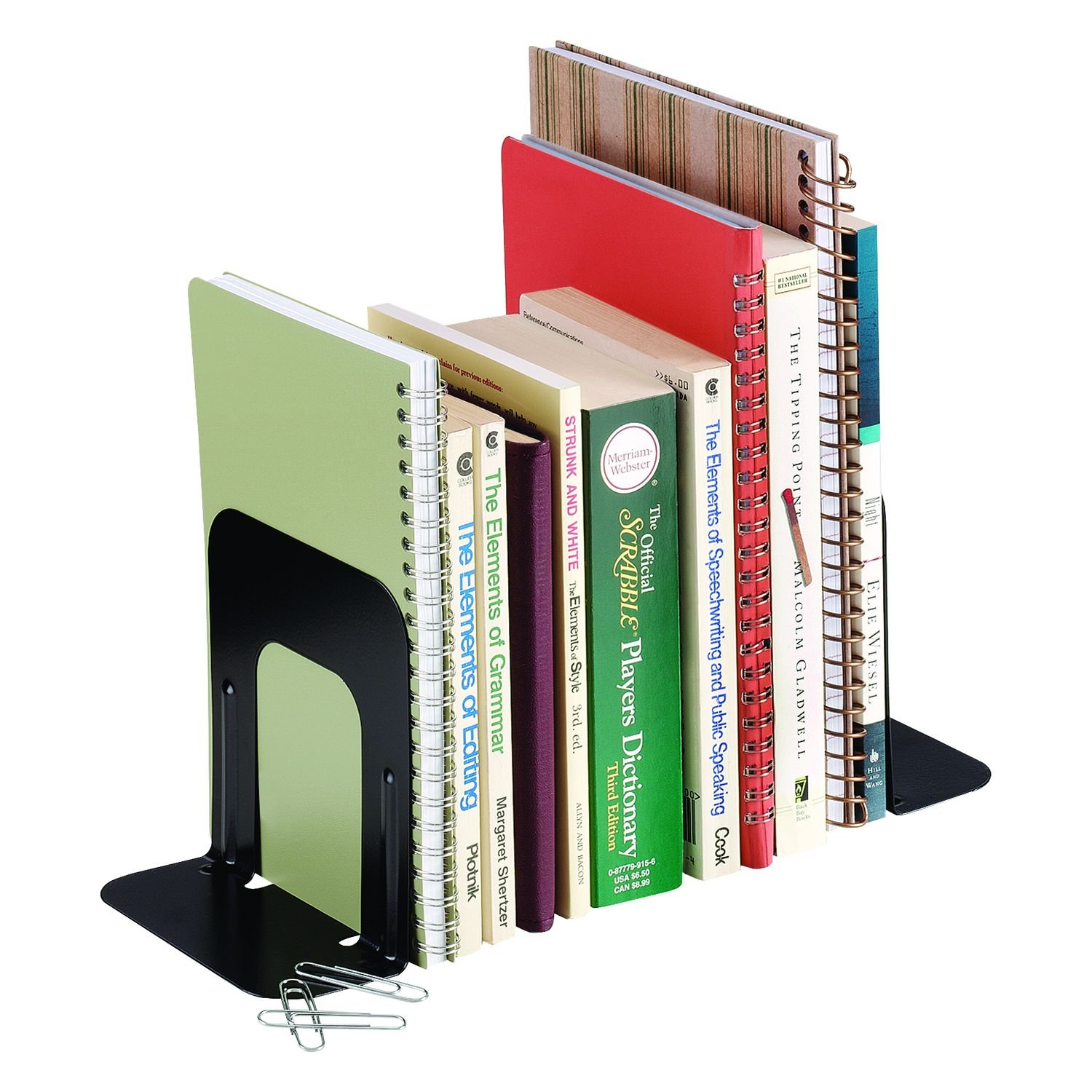 STEELMASTER Economy Steel Bookends, 5 Inch Backs, 1 Pair, 4.69 x 5 x 5.25 Inches, Black (241005004)