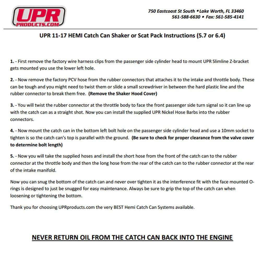 11-18 UPR 6.4L Billet Catch Can New HEMI Technology Z-Bracket Scat Pack Black by UPR Products (Image #5)