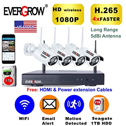 [2019 Newest] EVERGROW H 265 Wireless Home Security Cameras System,4  Channel Network IP NVR, 1TB Hard Drive,4 HD 2 0MP 1080P Wireless  Weatherproof