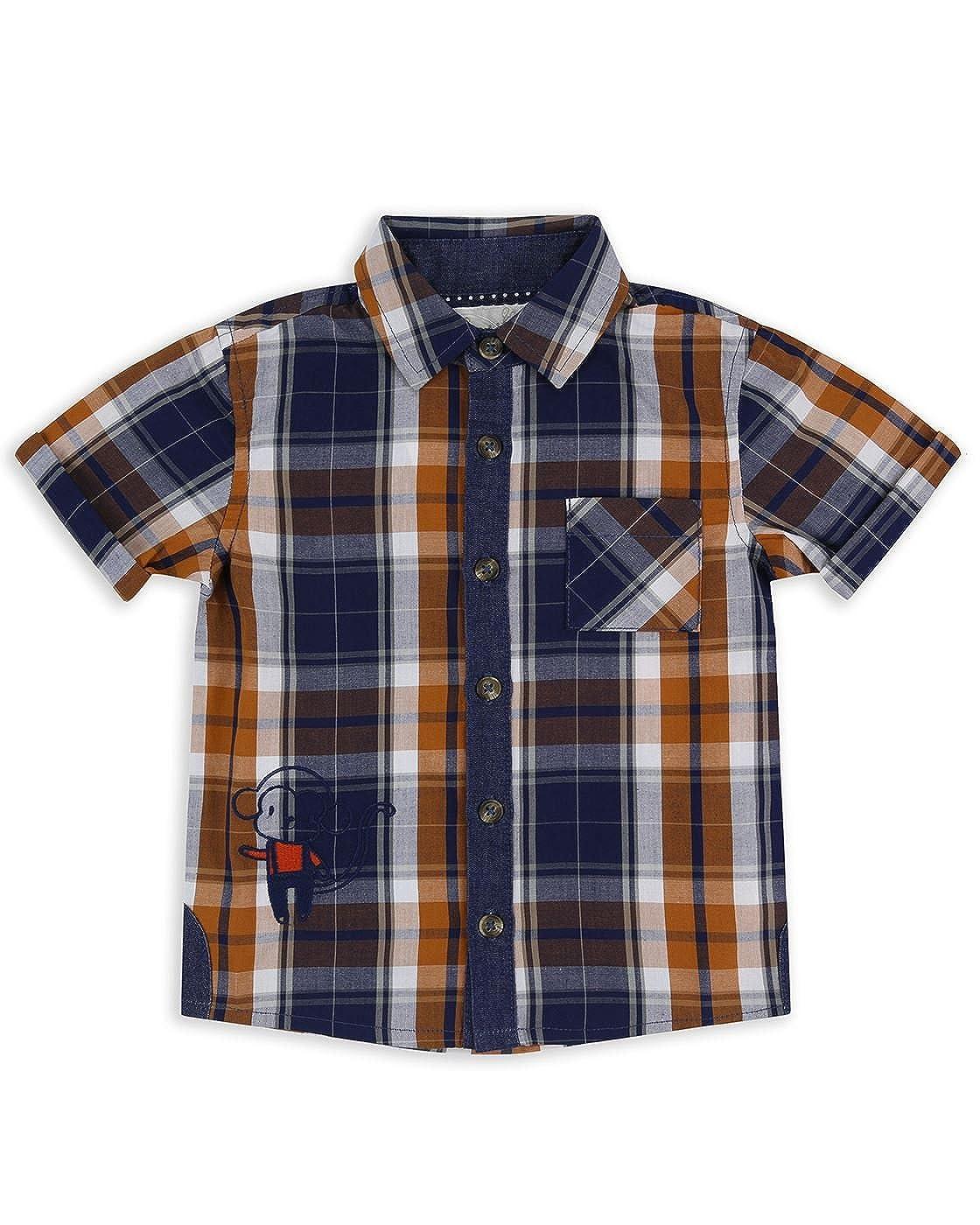 The Essential One Baby Kinder Jungen Hemd/Shirt Kurzarm - Orange/Blau - EOT435