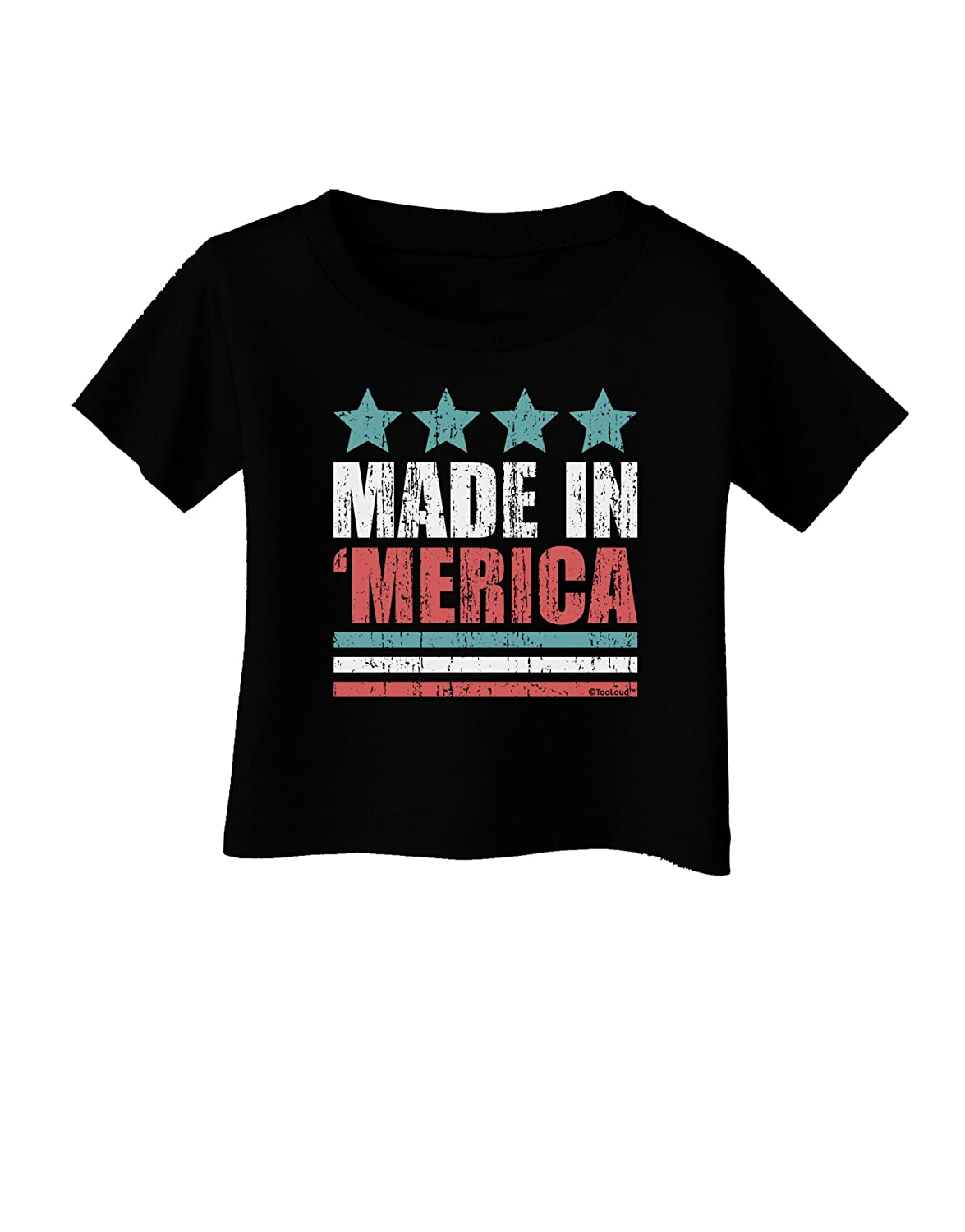 TooLoud Made in Merica Stars and Stripes Color Design Infant T-Shirt Dark