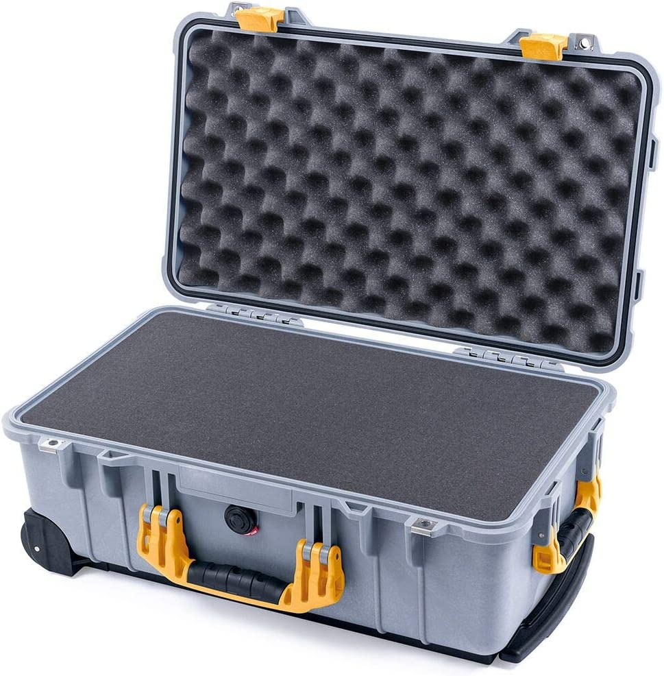 Silver /& Yellow Pelican 1510 case with Foam.