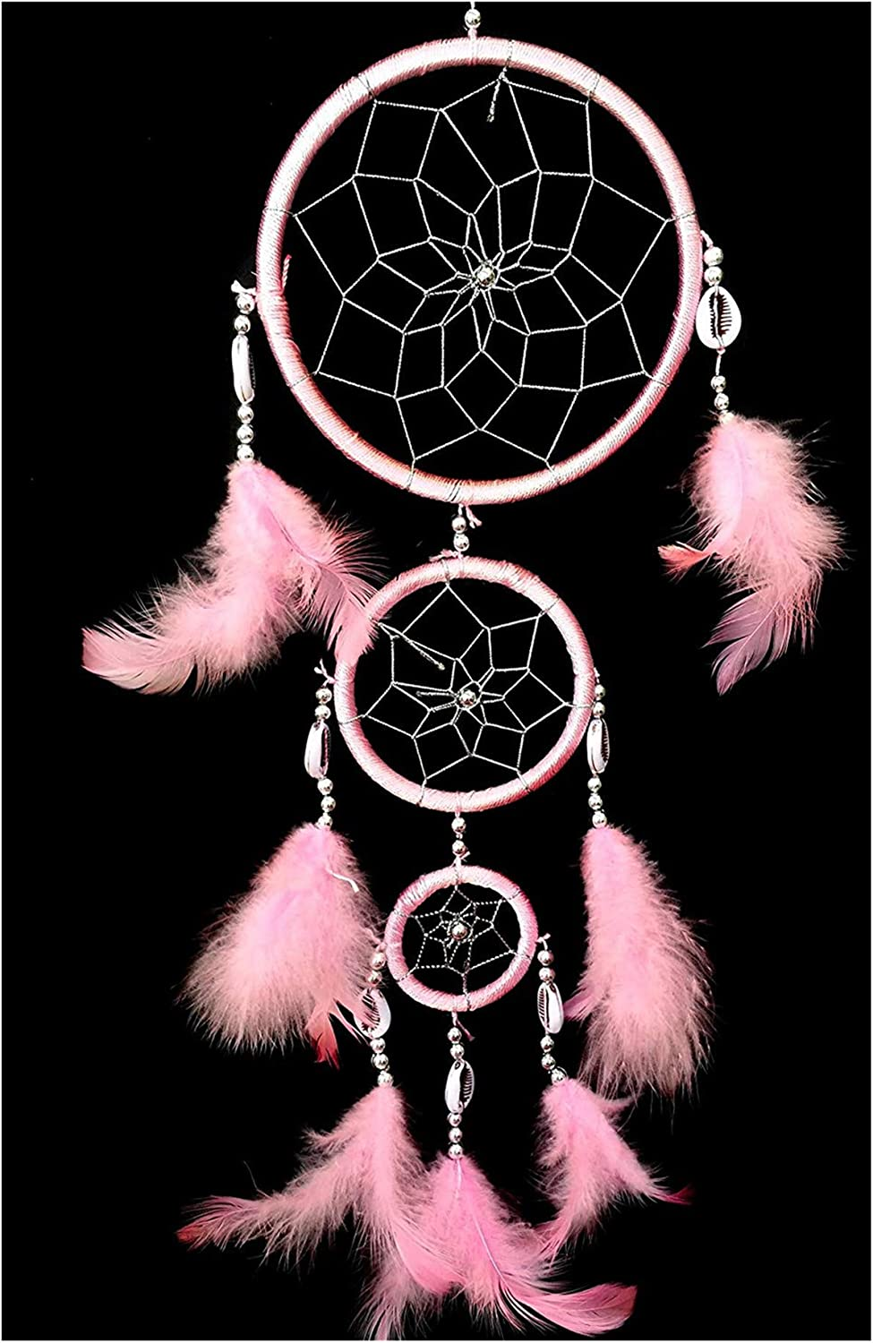 Pink Betterdecor Handmade Pink Dream Catcher with Feathers Wall Hanging Ornament with a Gift Bag
