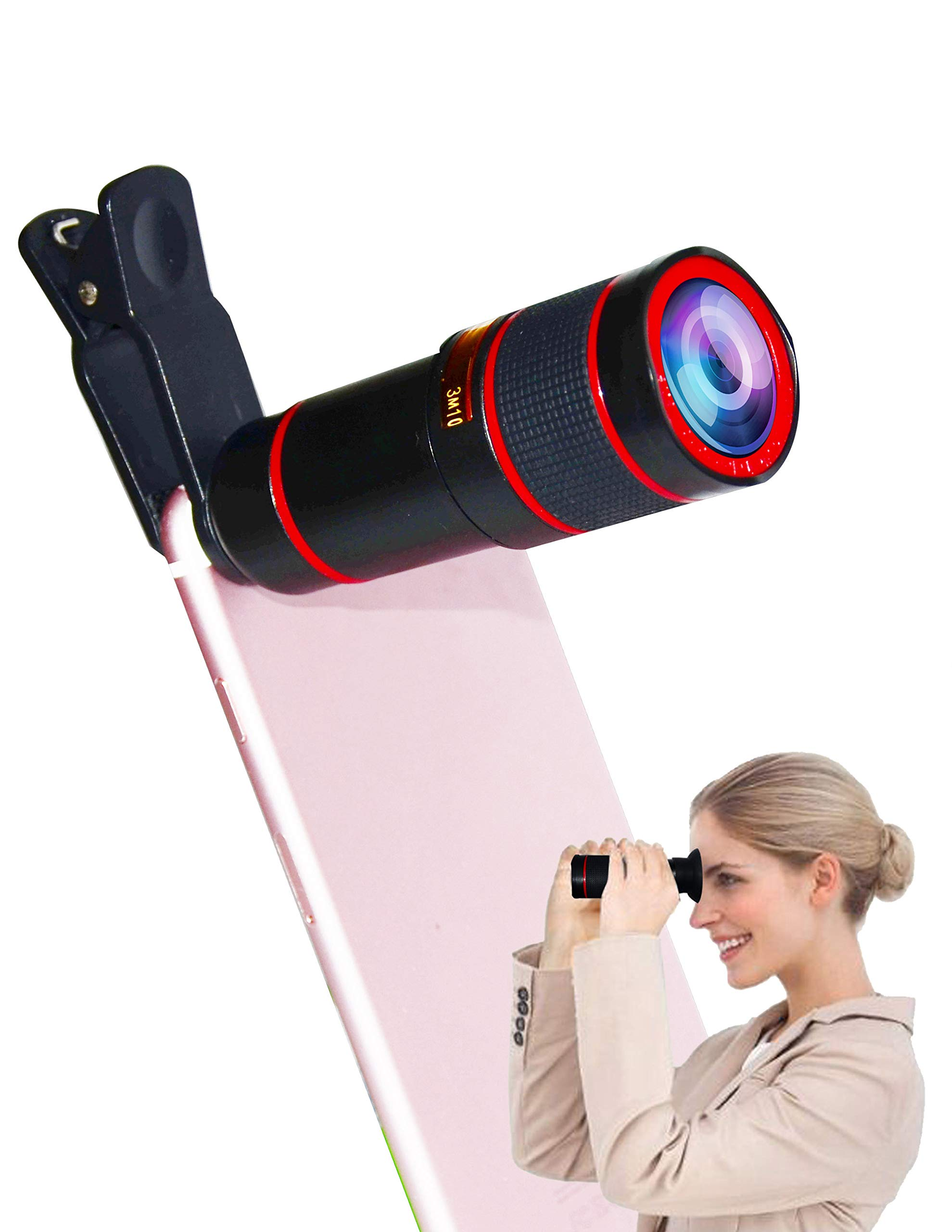 Universal 12X Telescope is Upgraded to 14X Clip-On Telephoto Telescope Camera Mobile Smartphone Zoom Lens Suitable Almost 98% Smartphones on The Market Compatible iPhone Samsung Galaxy Huawei Android