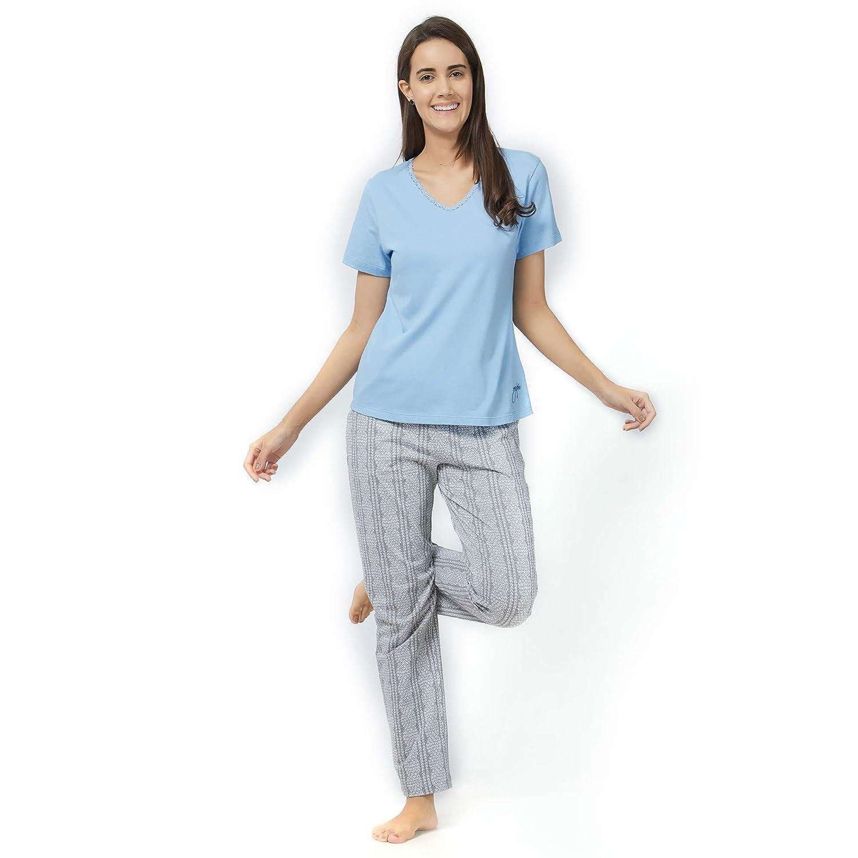 f12c6d123 Mystere Paris Classic Embroidered Tshirt Pyjama Set Sleepwear Nightwear  Womens Ledies Blue Grey Pyjama Set J315B  Amazon.in  Clothing   Accessories
