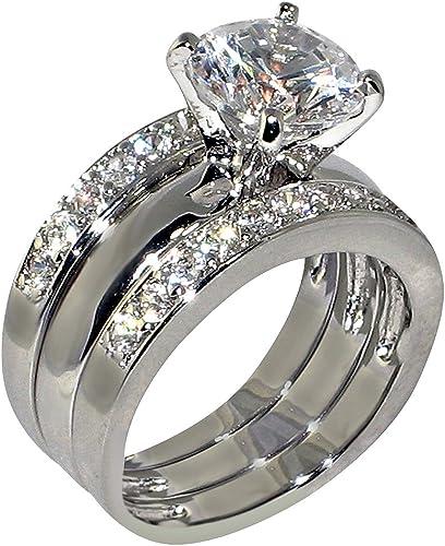 Damas Anillo Conjunto CZ plata de compromiso alianza de boda 2 un 1.80 quilates TS350