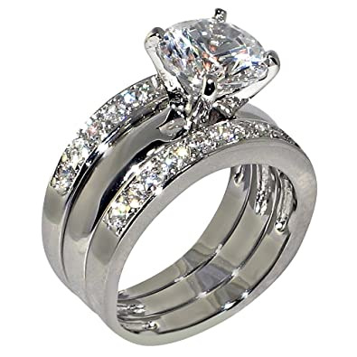 347 ct round cubic zirconia cz solitaire bridal engagement wedding 3 piece ring set - Engagement Wedding Ring Set
